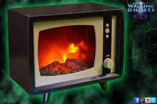 Retro TV Lamp Simulated Fire Effect Funky Moving Flame Light Halloween Party UK